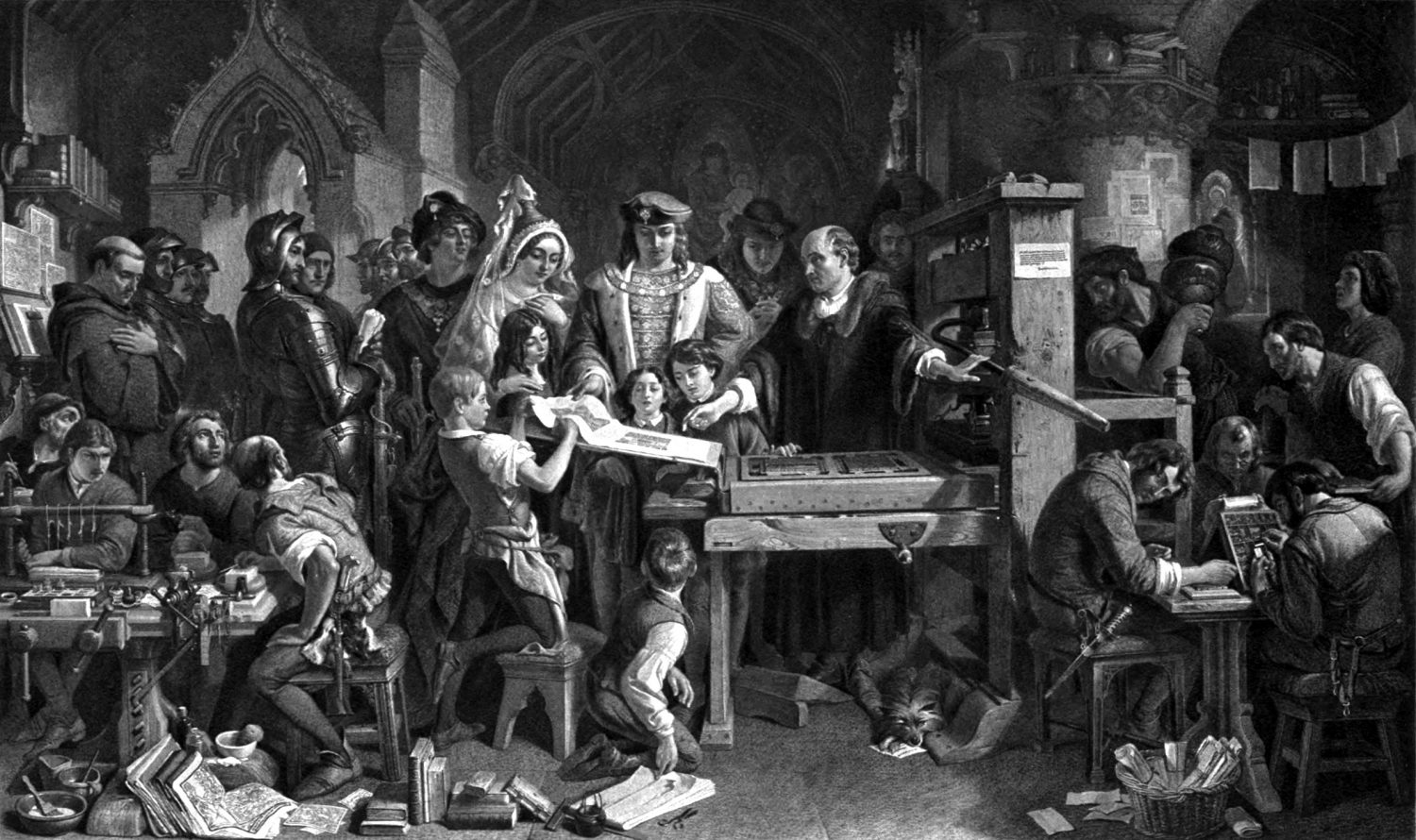 Daniel_Maclise_-_Caxton_Showing_the_First_Specimen_of_His_Printing_to_King_Edward_IV_at_the_Almonry,_Westminster