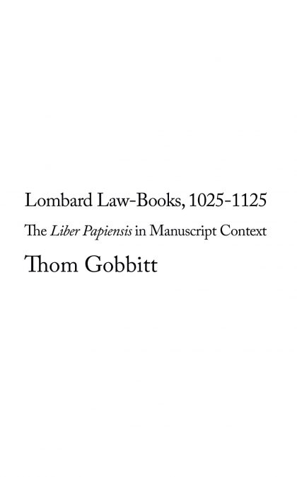 Lombard Law-Books, 1025-1125
